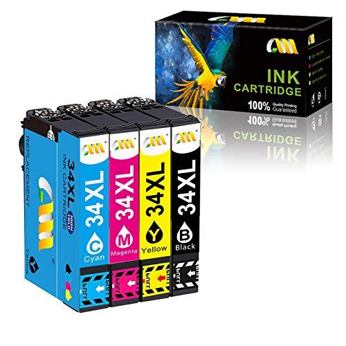 CMCMCM Work para Cartuchos de Tinta de Repuesto para Epson 34XL 34XL Workforce Pro WF-3720 WF-3720DWF WF-3725DWF WF-3720DW WF3720 WF3720DWF WF3725DWF Impresora 4 Unidades para (1C/1M/1Y/1B)