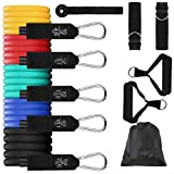 Resistance Exercise Fitness Tubes Stretch Workout Bands Set with Handles Door Anchor Legs Ankle Straps Carry Bag for Men Women Resistance Training Physical Therapy Shape Body Home Gym(5pcs 150lb)