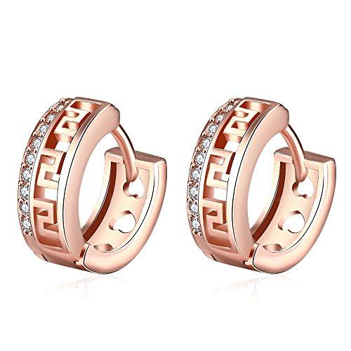 AMBESTEE Men Women Hoops Rose Gold Plated Rhinestone Inlay Zirconia Hoop Earrings Studs Set for Women Girls Party Meeting Wedding Daily Wear Christmas
