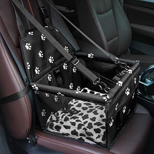 GENORTH Hund Auto Sitz Upgrade Deluxe tragbare kleine Haustier Booster Sitz mit Clip-On Sicherheitsleine und Decke, perfekt für kleine Haustiere (Schwarz mit Pfote druckt)