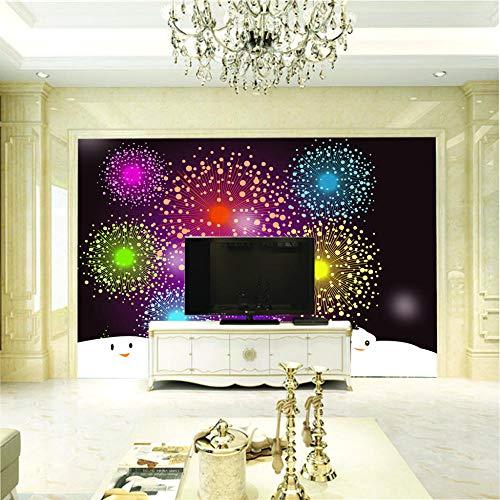 Fototapete 3D Wandbilder Für Fernseher Hintergrund Wohnzimmer 3D Tapete Effekt Vlies Wandbild Schlafzimmer Feuerwerk350X256Cm