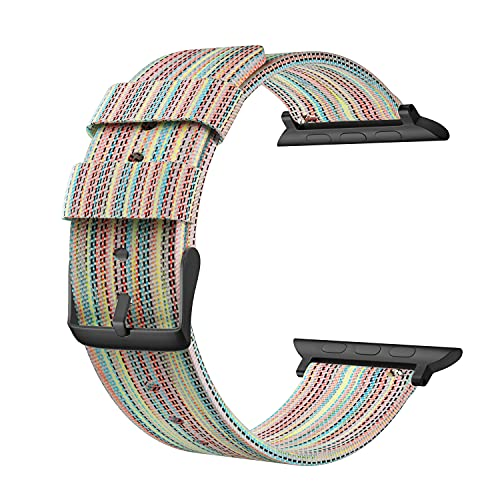 SOUWILA Compatible con Nylon Correa Reloj 38 mm 40 mm 42 mm 44 mm iWatch Series 6/5/4/3/2/1 Correa Reloj con Hebilla de Acero Inoxidable (38mm, Rainbow)