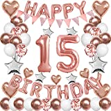 Rose Gold 15th Birthday Decorations for Girl Women,15th Birthday Balloons Supplies for Her 15 Rose Gold Number Balloon Happy Birthday Banner Confetti Balloons Star Heart Foil Balloons