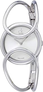 Calvin Klein Inclined Silver Dial Stainless Steel Bangle Ladies Watch K4C2M116