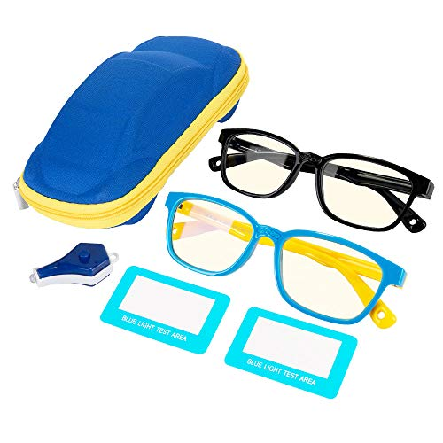 Nasjac Gafas de Filtro de Luz Azul Lentes para Niño, Bloqueo uv Antireflejantes para Teléfonos Móviles Computadoras TV Juegos, Gafas de Silicona con Marco Blando Retro para Adolescentes Protección De Ojos (Paquete 2)