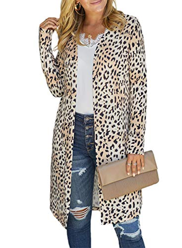 GOSOPIN Women Snap Open Front Long Knit Ribbed Cardigans Outwear X-Large White Leopard