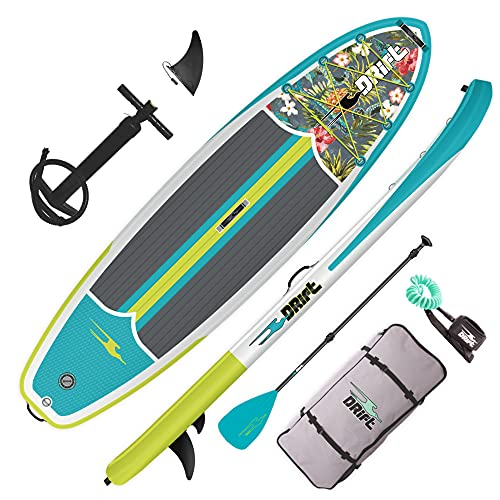 DRIFT Inflatable Stand Up Paddle Board, SUP with Accessories | Coiled Leash, Pump, Lightweight Paddle, Fin & Backpack Travel Bag (Native Floral)