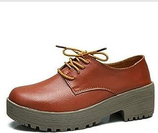 Bonrise Women's Fashion Lace-up Oxfords Shoe Leather Perforated Wingtips Square-Toe Wedge Platform Oxford Shoes