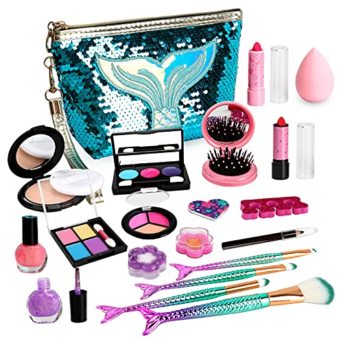 Flybay Kids Makeup Kit for Girl, Toddler Makeup Kit, Play Makeup for Little Girls, Washable Children Makeup Set, Mermaid Princess Birthday Girls Gift Toys for Age 4 5 6 7 8 9 Year Old