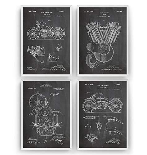 Harley Davidson Patent Poster - Set Of 4 Prints - Jahrgang Bild Drucke Kunst Geschenke Zum Männer Frau Entwurf Dekor Vintage Art Blueprint Decor - Rahmen Nicht Enthalten