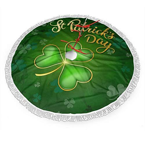 Sparkle Clovers Shamrocks Happy St Patrick's Day Christmas Tree Skirt, 36