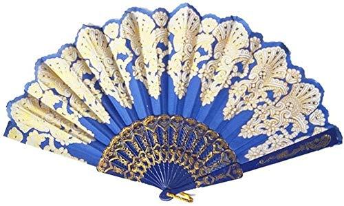 Opvouwbare ventilator,Elegante blauwe mode opvouwbare gouden blokkerende dansende ventilator Delicate ambachtelijke decoratie Fan Gift