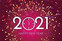 新しい7x5ft明けましておめでとうございます2021年メリークリスマスの背景赤い旗と黄色の蛍光スティックの背景フェスティバルお祝いパーティーの背景写真の背景写真スタジオ