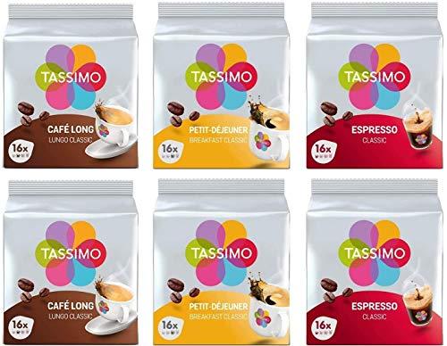 Tassimo Café Selección - Café Long Classic/Espresso Classic/Petit-Déjeuner Classic Cápsulas de Café - 6 Paquetes (96 Porciones)