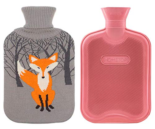HomeTop Premium Classic Rubber Hot Water Bottle w/Cute Knit Cover (2 Liter, Red)