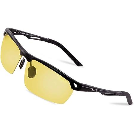 Duco Nachtsichtbrille Anti Glanz Fahren Brillen Kontrast Brille Nachtfahrbrille Polarisierte 8550 Schwarz Rahmen Gelb Linse Bekleidung