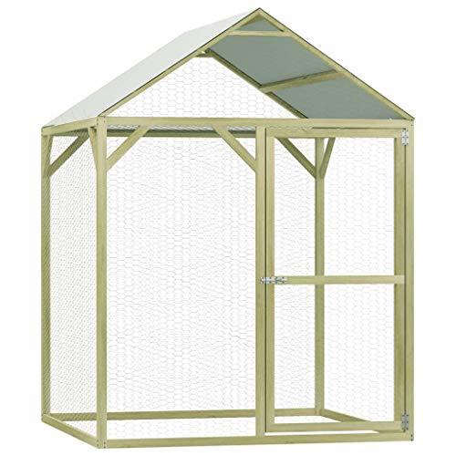 Festnight Outdoor Hühnerkäfig Hühnerhaus Freigehege Gefügelstall Voliere Hühnerstall Kleintierstall Gehege Freilauf Vogelkäfig mit Dach 1,5×1,5×2 m Imprägniertes Kiefernholz
