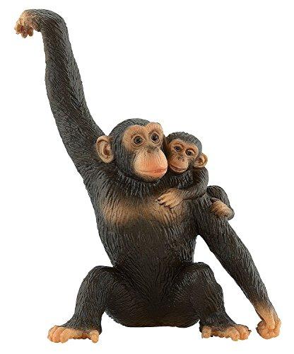 Bullyland 63594 - Figura de Juego, chimpancé con bebé, Aprox. 10,5 cm de Altura, Figura Pintada a Mano, sin PVC, para Que los niños jueguen de Forma imaginativa
