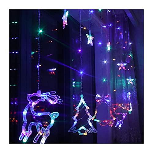 JAY-LONG Luces de Cadena de Estrella de Campanas de Ciervo de árbol de Navidad, con Control Remoto LED Luz de Cortina Exterior Impermeable para Fiesta de Navidad Decoración Interior 3M,Multicolor