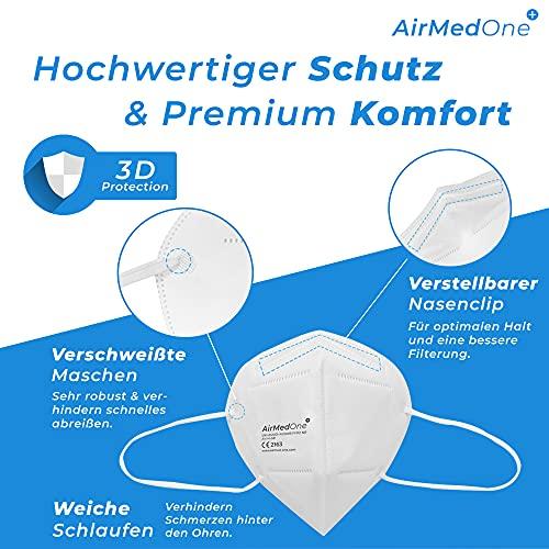 NEU: FFP2 Atemschutzmaske mit offiziellem Zertifikat CE2163, Mundschutz Maske 5-lagig [20 Stück] 3D Gesichtsmaske faltbar - 2