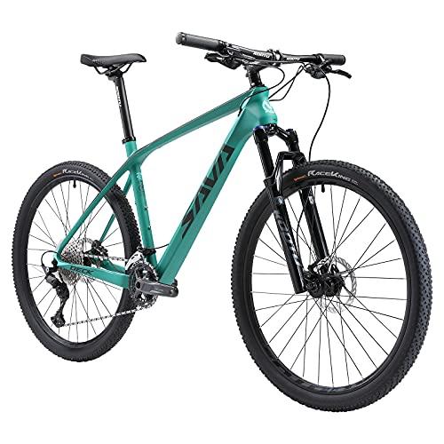 SAVADECK Mountain Bike Carbon, DECK5.0 27.5/29 Pulgadas Frame de Fibra de Carbono Marco de Carbono MTB Hardtail XC MTB con Juego de Grupo Shimano M5100 (Verde, 29x19)