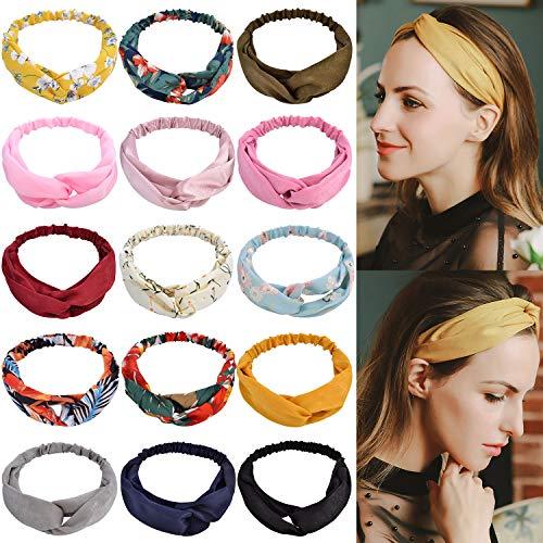 15 Pcs Boho Headbands for Women, EAONE Floral Bandeau Headbands Elastic Hair Bands Criss Cross Twisted Head Wrap Hair Accessories