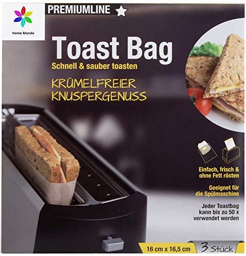 Sunmondo 6x Toastbag - Die Backpapier Tasche für den Toaster - Spüler geeignet, bis zu 50x verwendbar