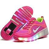 DDPP LED Roller Shoes Roues Simples Rétractable Rollerblades Vibrations Illuminer Plein Air Unisexe Poulie Chaussures Gymnastique Baskets,A,34