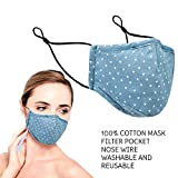 Reusable Cotton Face Mask with Filter Pocket and Nose Wire, 100% Cotton, Triple Layer with Filter Pocket, Reusable and Washable, Comfortable and Breathable