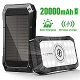 ABFOCE Solar PowerBank 20000mAh Cargador, 10W Qi Carga Inalámbrica, Batería Externa de Carga 3 Salida 5V/3A Tipo C Carga Rápida con Linterna 20 LED Panel para Viajes