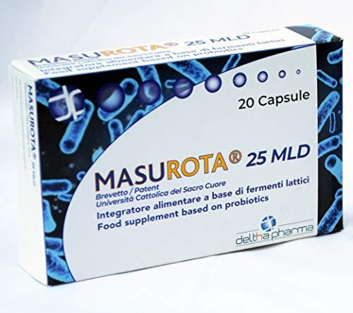 Masurota 25 mld Integratore alimentare di fermenti lattici e inulina, per favorire l'equilibrio della flora intestinale 25 miliardi di cellule vive, Brevetto dell'Università del Sacro Cuore, 20 cps