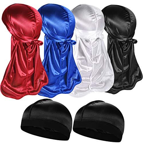 4+2 Silky Durag & Wave Cap Sets, Satin Doo Rags Compression Cap Pack...