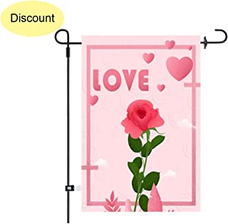 Uddiee Valentine's Day Garden Flag Home Garden Flag Decoration for Valentine's Day Party Supplies Valentine Rose Design with 1 Rubber Stopper and 1 Clear Anti-Wind Clip
