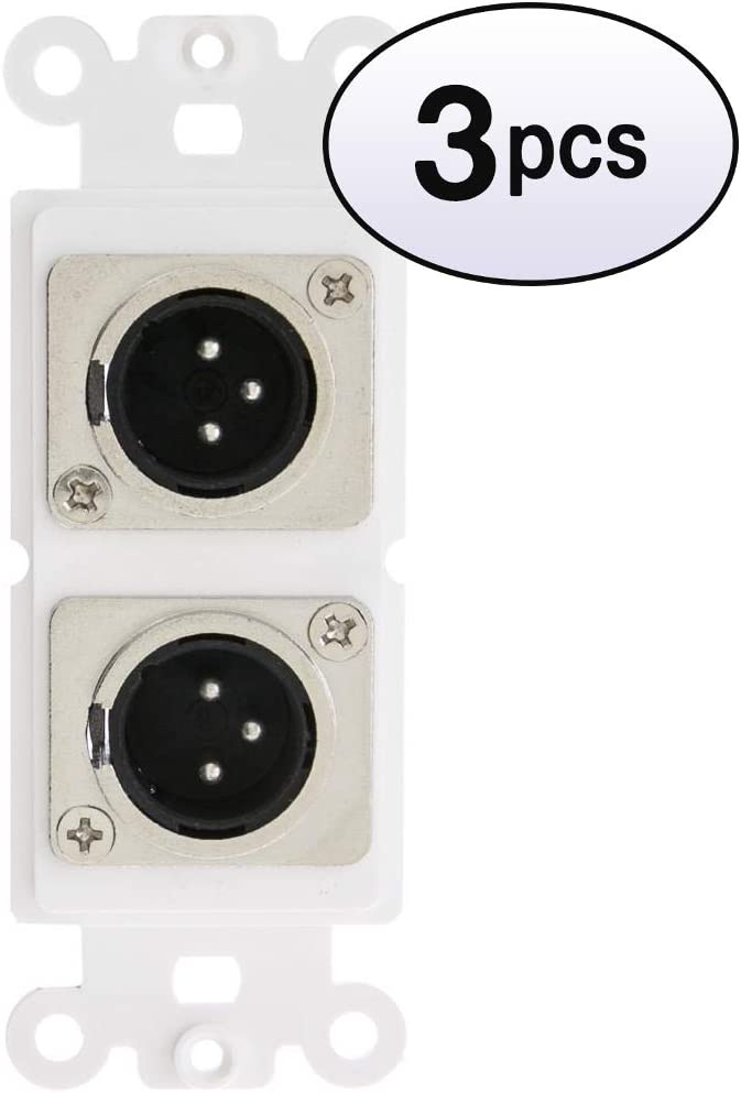 GOWOS 3 Pack Industry No. 1 Decora Wall Plate Insert Dual XLR Now on sale to Male White