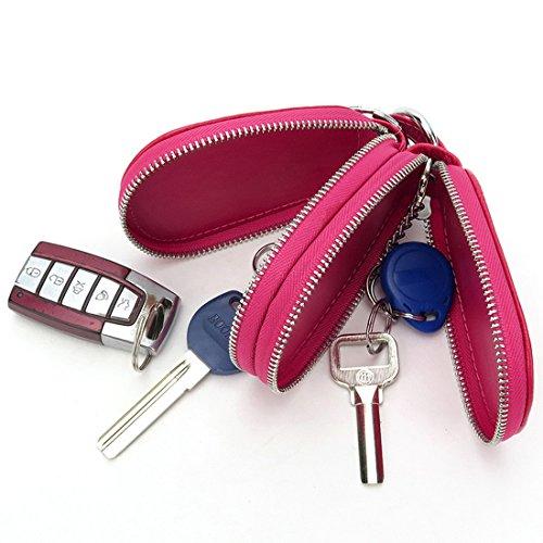 Esdrem Unisex echt lederen sleutelhanger houder dubbele rits auto sleutelhanger portemonnee muntzak Hot Pink Gourd Shape
