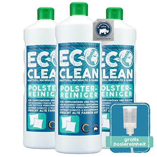 Eco Clean Polsterreiniger 3x1L Set - hochwirksamer Sofa Reiniger - materialschonend - zuverlässiger Autositz Reiniger - Polsterschaum antistatisch