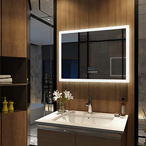 Meykoers Wandspiegel Badezimmerspiegel LED Badspiegel mit Beleuchtung 80x60cm mit Touch-Schalter, Bluetooth Lautsprecher und Beschlagfrei, Lichtspiegel Dimmbar Kaltweiß 6400K Energieklasse A++