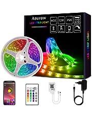 Aourow Taśma LED 10m(2 x 5 m) Samoprzylepna,Taśma LED RGB Bluetooth z Kontrolą APP i Pilotem 40-Przyciskowym,Synchronizacja z Muzyką,Listwa Świetlna SMD5050 na Imprezę,Dom,Dekoracje,Nie Wodoodporna