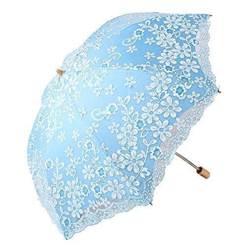 Honeystore Travel Sun Parasol Folding Brolly Anti-uv Sunshade Vintage Umbrella Printed Glitter Design 2 Folding Blue