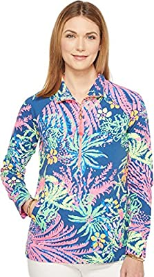 Lilly Pulitzer Women's UPF 50+ Skipper Popover, Indigo All A Glow, S by Lilly Pullitzer Women's Collection