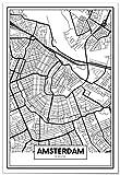 Panorama Poster Karte von Amsterdam 21x30 cm - Gedruckt auf