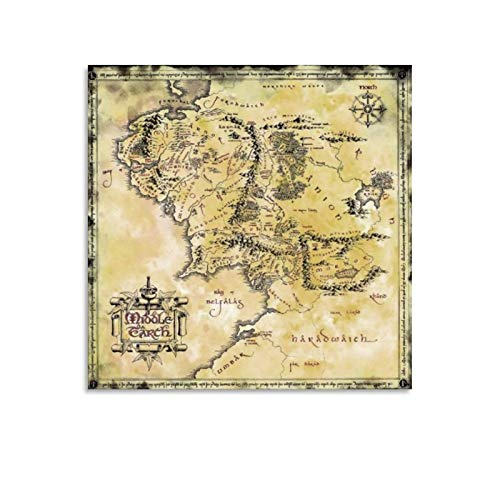 Lord of The Rings Hobbit Map of Middle-Earth Canvas Art Poster and Wall Art Picture Print Modern Family Bedroom Aesthetic Gift Decor Aesthetic Vintage Online Cheap Posters 16x16inch(40x40cm)