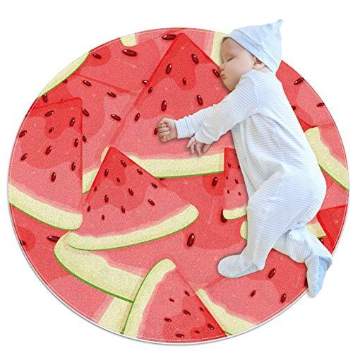 Yumansis Kinder-Spielteppich, rund, waschbar, mit rotem Wassermelonen-Muster