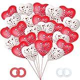 Just Married Luftballons, 50 Stück Herzluftballons Rot Weiß, Latex Herz Luftballons Hochzeit,Hochzeits Party Deko für Heiratsantrag Standesamt Verlobung Hochzeitsgeschen