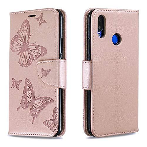 LMFULM® Hülle für Huawei P Smart Plus 2018 / Huawei Nova 3i (6,3 Zoll) PU Leder Magnet Brieftasche Lederhülle Handytasche Schmetterlingsprägung Standfunktion Ledertasche Flip Cover Rose Gold