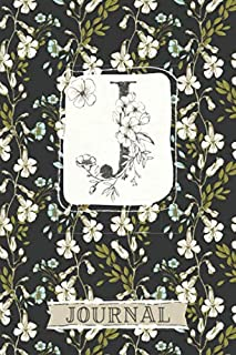 J Journal: Floral Notebook Monogram Initial J Blank Lined Journal | Ivory and Sky Blue Flowers | Decorated Interior