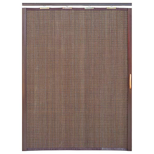 Cortina de bambú de puerta corredera plegable anti-mosquitos, cortina de partición de cifrado para sala de estar, cocina, dormitorio, balcón, puerta corredera, cortina enrollable, cortina enrollable