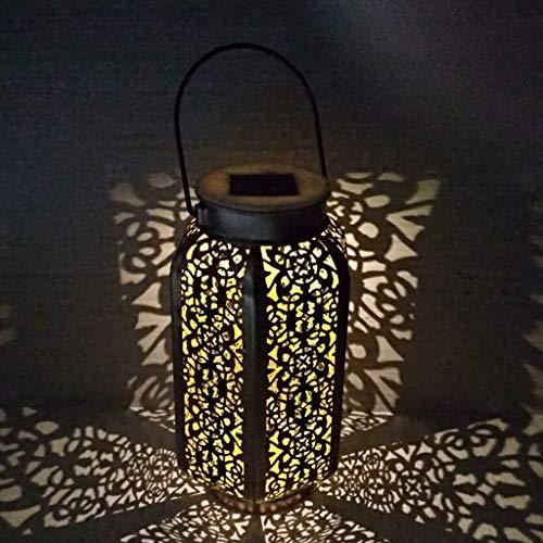 Lilongp - Lámpara de mesa para jardín (hierro forjado, forma de calabaza, portátil)