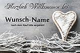 crealuxe Fussmatte Herzlich Willkommen mit Wunschname (nach dem Kauf angeben) 5 -...