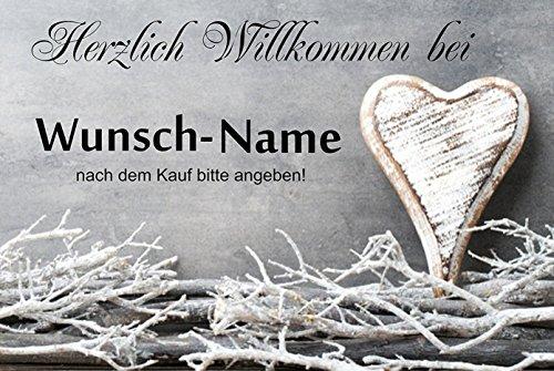 crealuxe Fussmatte Herzlich Willkommen mit Wunschname (nach dem Kauf angeben) 5 - Fussmatte bedruckt Türmatte Innenmatte Schmutzmatte lustige Motivfussmatte